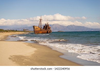 Greek coastline with the famous rusty shipwreck Dimitrios in Glyfada beach near Gytheio, Gythio Laconia Peloponnese Greece.