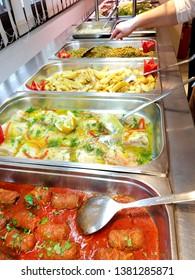 Greek cuisine buffet food in a hotel restaurant