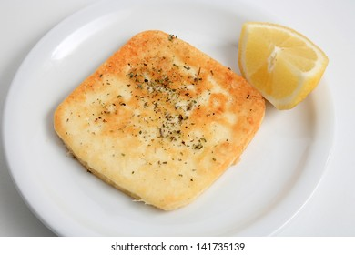 greek cuisine fried hard  cheese served on a plate