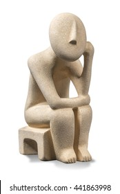 Greek Cycladic Thinker. Cycladic sculpture that is a souvenir in Greece and depicts idols made in the Greek Islands from the Bronze Age.