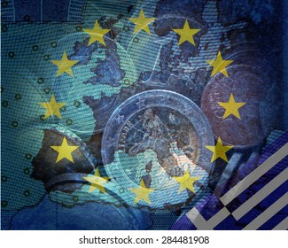 Greek debt crisis -  Greek and European flag in front of the contours of Europe, in a circle of stars  Euro coins translucent,