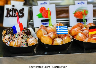 Greek donuts, loukoumades at a food festival in Bucharest, Romania – 2019