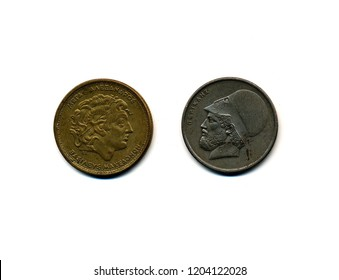 Greek drachma coins, Alexander the Great and Pericles