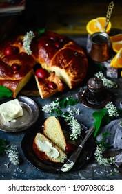 Greek Easter bread Tsoureki..traditional  easter pastries. selective focus