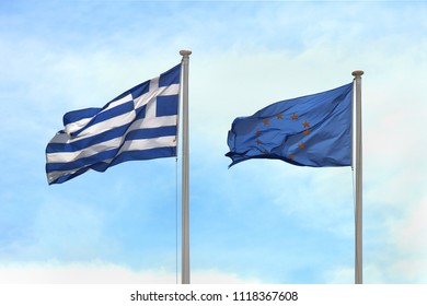 Greek and European Union flags waving in the wind