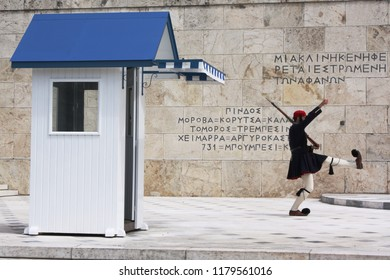 Greek euzone guard in Parliament of Athens, Greece.