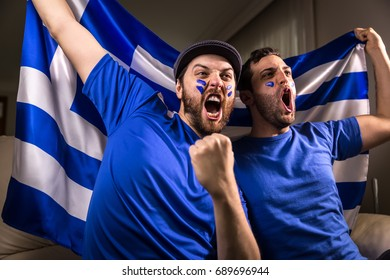 Greek fans holding the national flag