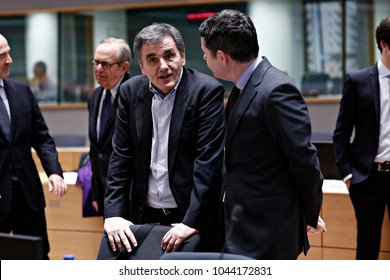 Greek Finance Minister Euclid Tsakalotos in the eurogroup at the EU Council building in Brussels on Monday, March 12, 2018.