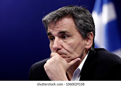 Greek Finance Minister Euclid Tsakalotos gives a press conference after the Eurogroup finance ministers meeting at the European Council in Brussels, Belgium on May. 9, 2016.