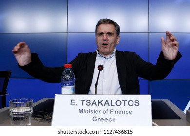 Greek Finance Minister Euclid Tsakalotos gives a press conference after the Eurogroup finance ministers meeting at the European Council in Luxembourg on June 22, 2018