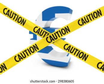 Greek Financial Crisis Concept - Euro Symbol textured with the Greek Flag behind Caution Tape Cross