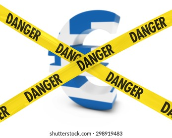 Greek Financial Instability Concept - Euro Symbol textured with the Greek Flag behind Danger Tape