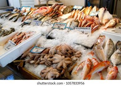 A Greek fish market on Aegina island in Greece.
