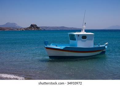 Greek Fishing Boat in the Sea, Greece, Kos Island
