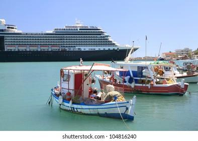 Greek Fishing Boats and Cruise Ship at Dock