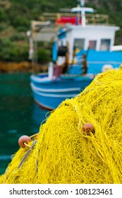 Greek fishing nets in fishing village