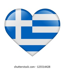 The Greek flag in the form of a glossy heart