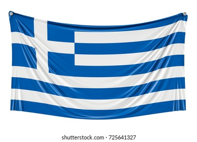 Greek flag hanging on the wall, 3D rendering