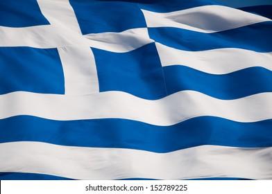 Greek flag on Acropolis of Athens, Greece.