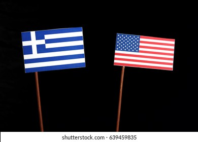 Greek flag with USA flag isolated on black background