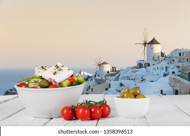 Greek food background. Traditional different greek dishes. Close-up