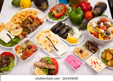 Greek Food Laid out on Table