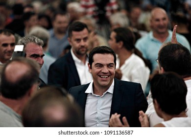 Greek former Prime Minister Alexis Tsipras arrives to attend in a meeting with members of his Syriza party in Athens, August 29, 2015.