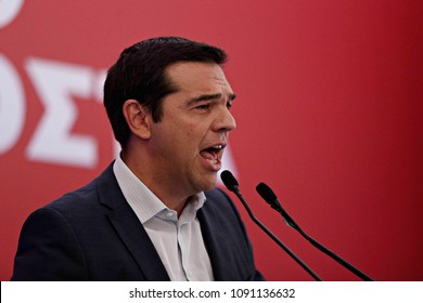 Greek former Prime Minister Alexis Tsipras speaks during a meeting with members of his Syriza party in Athens, August 29, 2015.