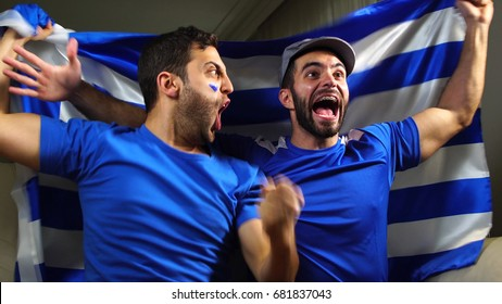 Greek Friends Celebrating with Greece Flag
