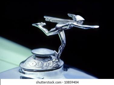 Greek god mercury on car hood