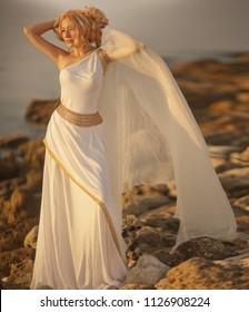 Greek goddess in white dress