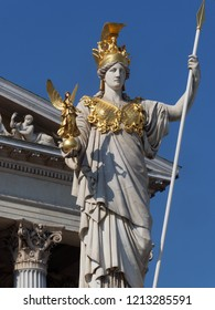 greek godess pallas athene in front of austrian house of parliament