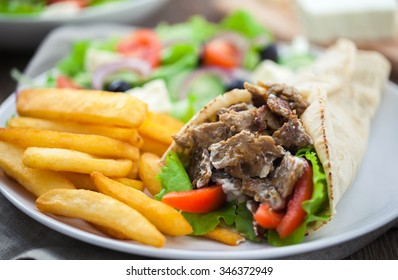 Greek Gyros with Fries and Salad