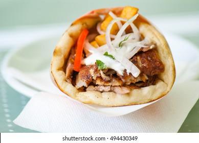 Greek gyros souvlaki pita