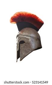 Greek helmet isolated on white background