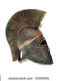 Greek helmet isolated on a white background.