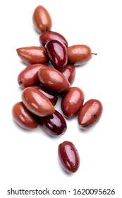 Greek kalamata pickled olives isolated on white background