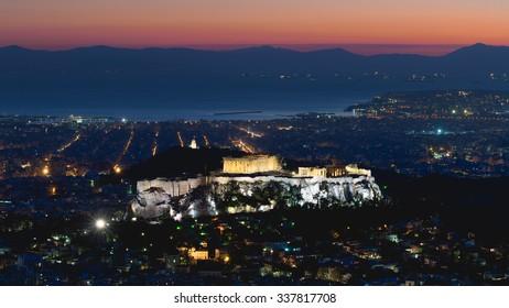 Greek landscape of Acropolis against the sunset.