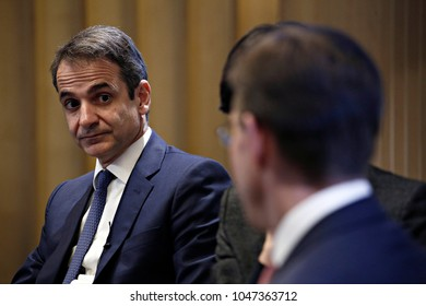 Greek Leader of New Democracy party  Kyriakos Mitsotakis takes part in event which organized by Bruegel european think tank specializing in economics in Brussels, Belgium on Nov. 30, 2107.