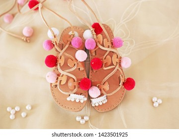 greek leather sandals for girls with colorful pom pom - gladiator sandals - kids shoes advertisement