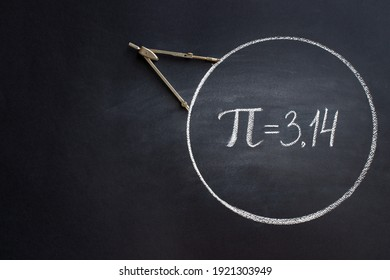 The Greek letter Pi, the ratio of the circumference of a circle to its diameter, is drawn in chalk on a black chalkboard with a compass in honor of the international number Pi for March 14