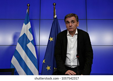 Greek minister of finance, Euclid Tsakalotos gives a press conference after the Eurogroup finance ministers meeting  in Luxembourg on Jun. 15, 2017
