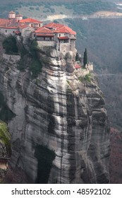 The Greek monastery at mountain top. Meteora.