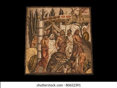 Greek mosaic in the ruins of Ampurias, Spain