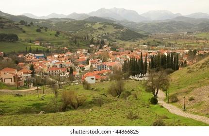 Greek mountain village of Kalavryta at Peloponnese, Greece