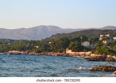Greek mountains and sea