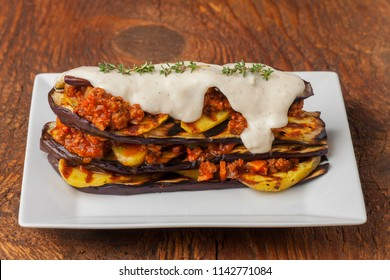 greek moussaka dish with cheese