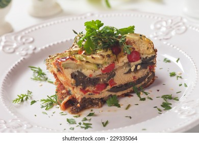 Greek moussaka dish with eggplant and minced meat