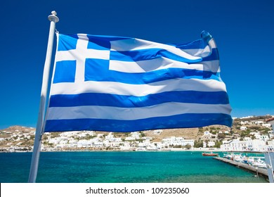 The Greek National flag in Mykonos