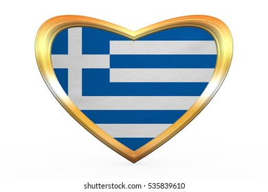 Greek national official flag. Patriotic symbol, banner, element, background. Correct colors. Flag of Greece in heart shape isolated on white background. Golden frame, fabric texture. 3D illustration